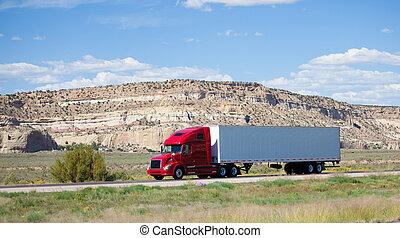Semi- camión, camino, desierto