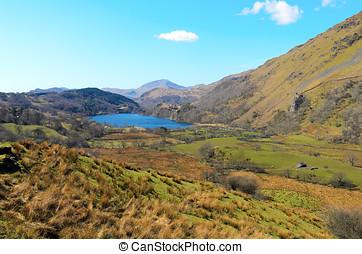Llyn Gwynant - Afon Glaslyn and Llyn Gwynant in Snowdonia...