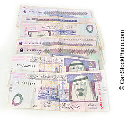 Five paper currency in line of Saudi Arabia