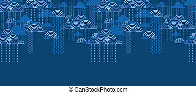 Rain clouds horizontal seamless pattern background border -...
