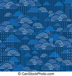 Rain clouds seamless pattern background - Vector rain clouds...