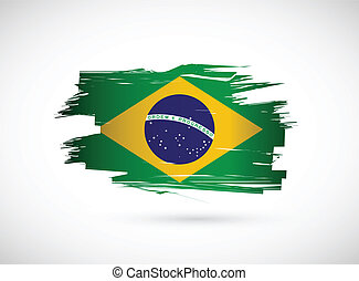 Brazil. Brazilian flag on white background.