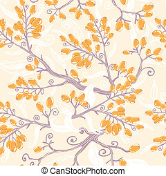 Orange buckthorn berries seamless pattern background -...