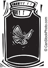 Killing Jar - Woodcut style expressionist image of a...