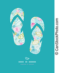 Seashells line art flip flops decor pattern background -...