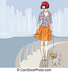 Vector beautiful girl with dog walks along the waterfront -...