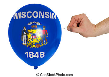 Bursting balloon colored in  flag of american state of wisconsin