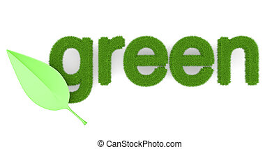 Green - The word Green Symbol for ecology 3d illustration