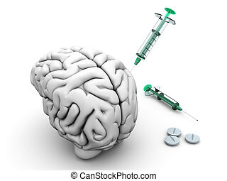 Brain Injection - Brain medication Pills and syringes and a...