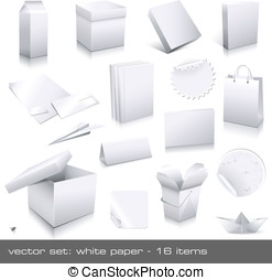 White paper - vector set: white paper - packaging and...