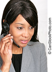 African American CSR rep - an adult female customer service...