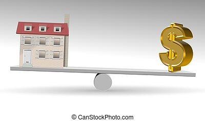 Property value - A house and golden dollar symbol on a see...