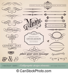 Calligraphic design elements - vector set: calligraphic...