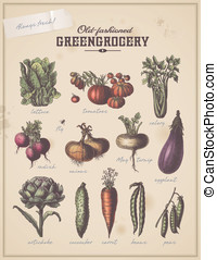 Different vegetables - old-fashioned greengrocery - vintage...