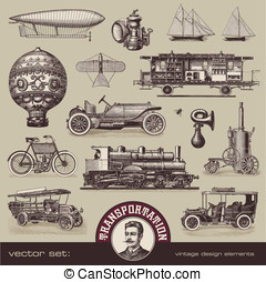 Vintage means of transportation - vector set: vintage means...