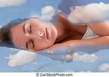 Woman Sleeping - Woman sleeping in the clouds and dreaming