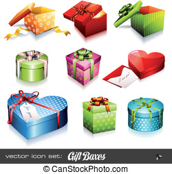 Gift boxes - set of nine colorful vector gift boxes