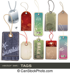 Tags - vector set: tags - 10 items