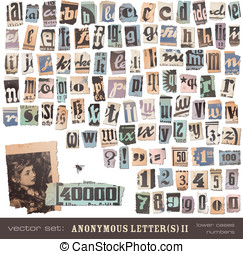 Vintage newspaper cutouts part 2 - vector set: alphabet...