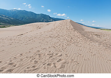Sand dunes - Footprints in the sand, Great Sand Dune...
