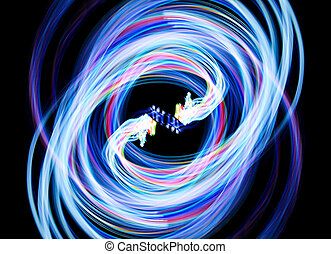 Abstract blue light create on the dark background