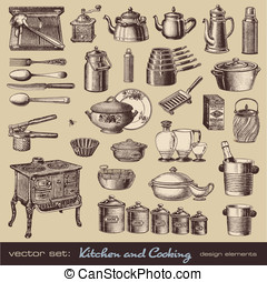 Kitchen and cooking design elements - vector set: kitchen...