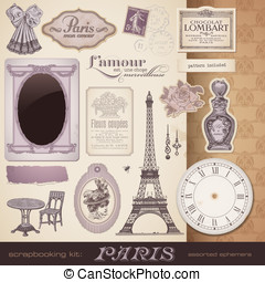Vintage design elements - scrapbooking kit: Paris - romantic...