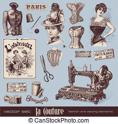 Fashion and sewing - vector set: fashion and sewing 1900