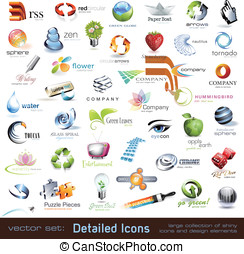 Vector icons and design elements - large collection of...