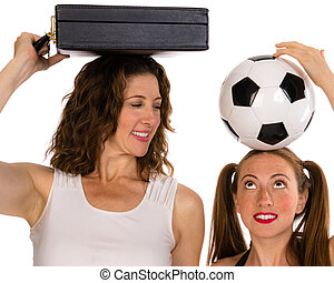 Business woman and soccer player - A smiling business woman...