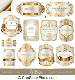 White gold-framed labels - white gold-framed labels