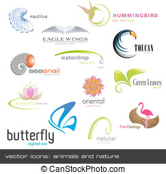 Vector icons: animals and nature - vector icons: animals and...