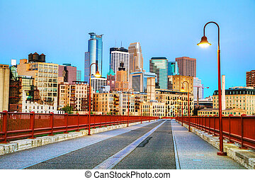Downtown Minneapolis, Minnesota at night time as seen from...