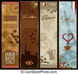 Coffee banners - coffee around the world - set of four...