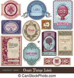 Vintage labels - set of decorative vintage labels