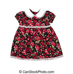 Handmade dress for baby girl or toddler isolated on white...