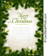 Christmas frame - detailed realistic Christmas frame with...