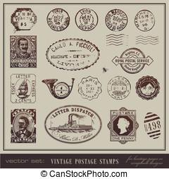 Vintage postage stamps - vector set: vintage postage stamps...