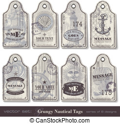 Nautical tags - grungy nautical tags - series of eight...