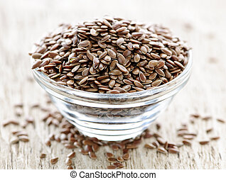 Brown flax seed - Bowl full of brown flax seed or linseed