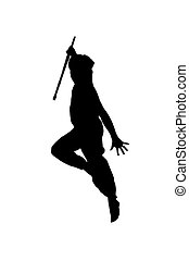 jumping martial artist - a male martial arts performer...