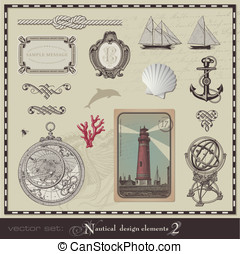 Nautical design elements - vector set: nautical design...