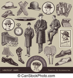 Gentlemen's fashion and accessories - vector set:...