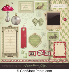 Ephemera and design elements - scrapbooking kit: Christmas -...