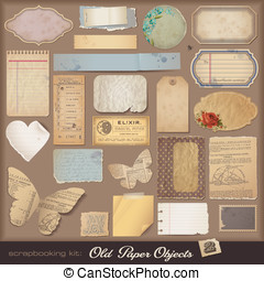 Digital scrapbooking kit: old paper - Old Paper Objects (2)...