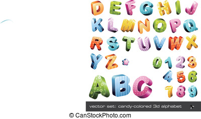 Cute candy-colored 3d alphabet - cute candy-colored 3d...