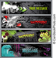Graffiti banners - set of four graffiti style grungy urban...