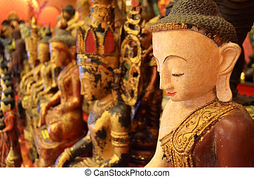 Ancient Buddha statue wood carving m , Asia , Thailand