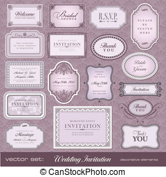Design elements for invitations - Set of ornate vector...
