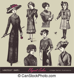 Elegant vintage ladies - vector set: elegant vintage ladies...